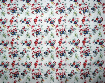 CLEARANCE - Red and white floral print cotton fabric