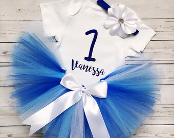 Baby Blue Tutu Outfit, First birthday Outfit, Birthday Outfit, Blue Tutu, personalized Shirt