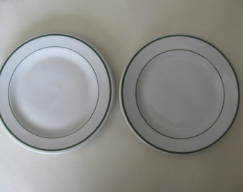 Two Vintage Ironstone Dessert Plates Green Stripes Shenango China Co. 1940 Cafeteria Style Country French