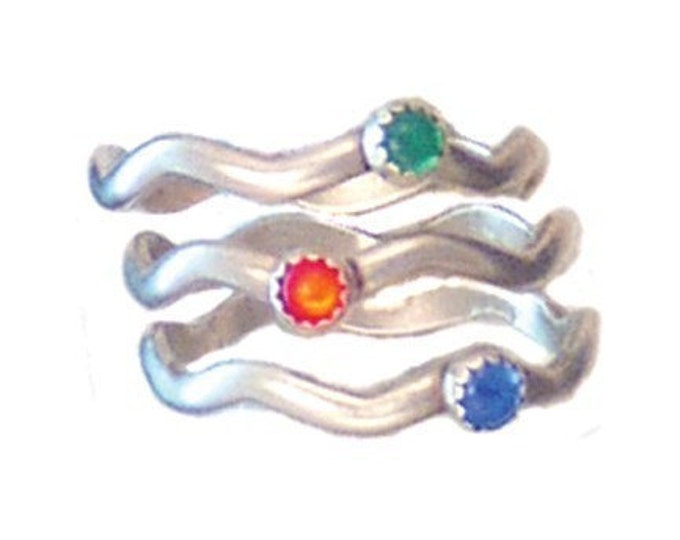 wavy stacking sterling silver rings