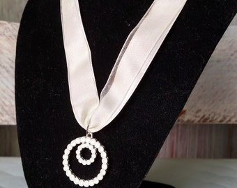 Ribbon and Rhinestone Pendant Necklace