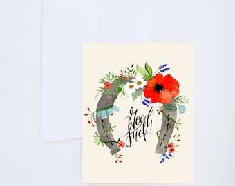 General / Friendship Greetings - Good Luck - Horseshoe And Florals - Painted & Hand Lettered Cards - A-2