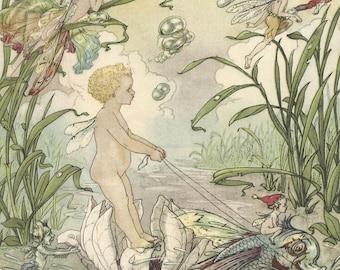 Vintage Harold Gaze illustration baby fairy riding fish digital download printable instant image