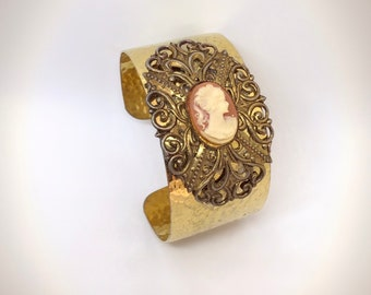 Repurposed Cameo Gold Cuff Bracelet Hammered gold-tone & Filigree