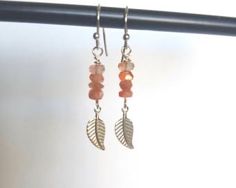 Nickel Free Sunstone and Silver Leaf Dangle Earrings
