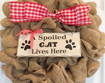 Spoiled Cat Burlap Wreath