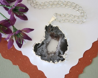 Geode Necklace Silver, Crystal Necklace, Geode Agate Slice, Druzy Pendant, Natural Geode, GS89