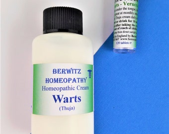 THUJA WARTS Cream & Remedy KIT – for Adults and Children. For safe and gentle removal of Warts, Verrucas, Skin Tags 60ml + 120 pillules