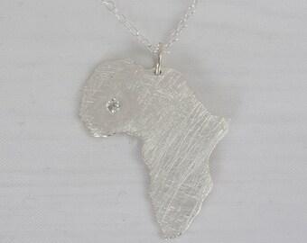 Africa Necklace with zirconia -  Africa  Adoption necklace - Collar áfrica con circonita