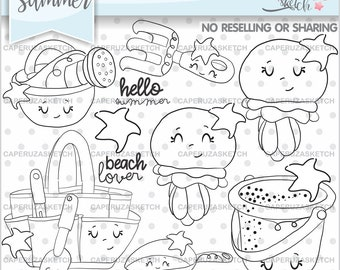 Summer Stamps, Octopus Stamps, COMMERCIAL USE Stamps, Hello Summer, Beach Lover, Beach Stamps, Summer Coloring Page, Beach Coloring Page