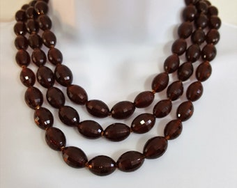 Vintage 3 Strand Rootbeer Lucite Necklace Faceted Bead Necklace Estate Jewelry Fashion Jewelry