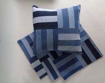 Upcycled Blue Denim Pillow Cover,  Accent Pillow, Blue Striped Pillow, Throw Pillow, Decorative Pillow, Designer Pillow, Bedroom Pillow