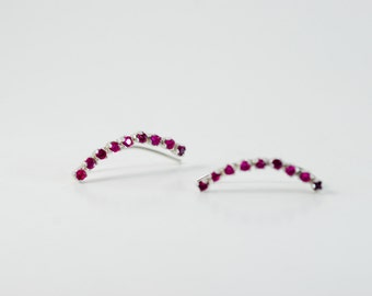 Ruby Ear Climbers Sterling Silver - Lucky 9s