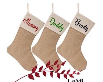 Christmas stockings. Personalized Christmas stockings. Family stockings. Burlap stockings. Burlap stocking. Christmas stocking.