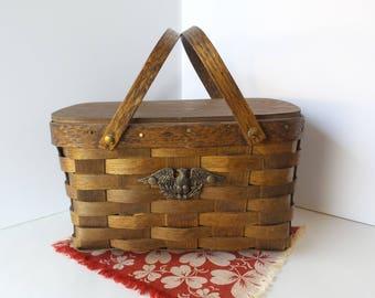 Vintage Wood Picnic Basket, Woven Wood Picnic Basket, Americana Picnic Basket with Eagle Emblem, Basketweave, Storage Basket,Farmhouse Style