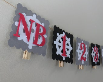 Pirate Theme First Year Photo Banner,Pirate First Birthday, Birthday Decorations, Month Photo Banner, Picture Banner, NB to 12 months