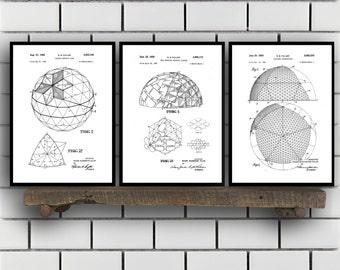 Buckminster Related Patent Set of Three, Buckminster Invention Patent, Buckminster Poster, Architecture Geodesic, Architecture