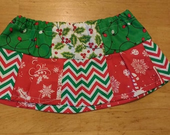 Holly and Christmas lights Patchwork skirt