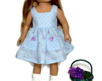18 Inch Doll Dress, Blue Polka Dot and Floral Doll Dress, 18 Inch Doll Clothes, Summer Doll Clothes