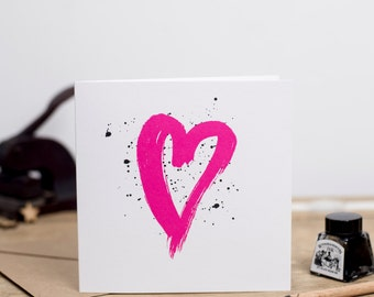 Love Heart - Greeting Card Brignt/Neon Pink - Love