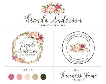 Branding package wreath flower logo bohemian logo floral logo rustic logo photography logo premade logo package graphic design