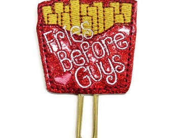Fries before guys glitter vinyl planner paperclip, Fries bookmark, Glitter vinyl paperclip, Planner paperclip accessories, fun paperclip