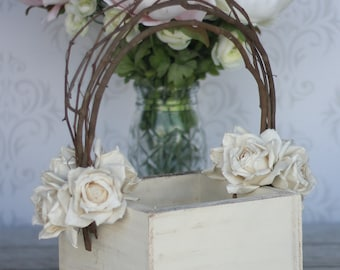 Flower Girl Basket Shabby Chic Wedding Decor (P10377)