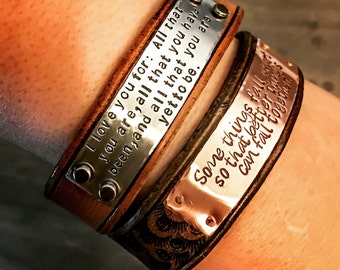 Invisible Rivet Custom Leather Cuff, Personalized leather cuff bracelet Custom metal stamped cuff Leather cuff  Mantra Animal Bracelet Cuff