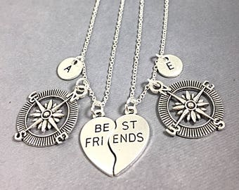 Compass Jewelry, Set of 2  silver,best friend gift, Compass necklace, Distance Best friend,compass pendant,friendship jewelry,necklace for 2