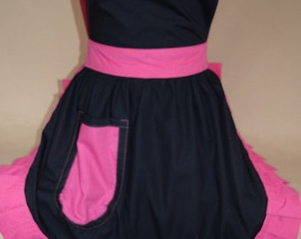 Retro Vintage 50s Style Full Apron / Pinny - Black with Pink Trim