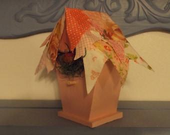 Small Decorative Bird House / Pink Shabby Sheek Patchwork Roof - Pink Paint / Bird & Nest