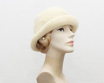 Christian Dior Knit Hat - Cream Wool Knit Designer Hat - Vintage 1980s Dior Hat