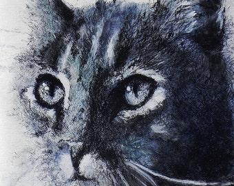 "Black and white beautiful  tabby cat portrait. Midnight Tabby.  A decorative CERAMIC TILE wall  art  - 10"" x 8"".  Free U.S. shipping."
