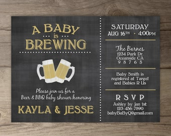 A Baby is Brewing / Love is Brewing / BaByQ Baby Shower Invitation / guy friendly / co-ed printable Invitation / chalkboard