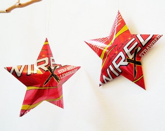 Wired X Strawberry Lemonade Energy Stars Christmas Ornaments Upcycled