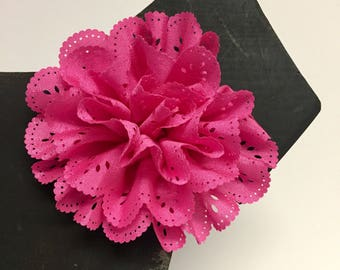 Hot Pink Eyelet flower - Christmas - Holiday - Summer - Spring Flower - Dog Collar Accessory - Gift - Pet Gift - Pretty - Fancy