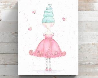Little Girl Watercolor Canvas Print - Pink Dress with Blue Hair - Watercolor Whimsy Girl - Wrapped Canvas Print