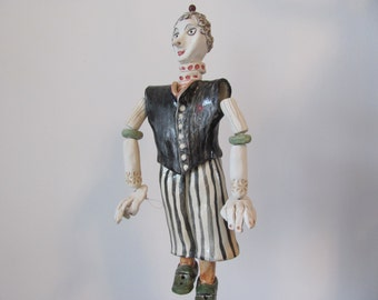 Ceramic Marionette  Handmade Valentine day gift   moblie. Modern home decor Unisex adults The CirCuS  mAn