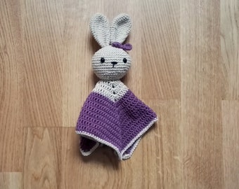 Crochet security blanket - bunny - rabbit - lovey - toddler toy - snuggle - newborn - safety blanket - purple lovey - woodland - baby toy