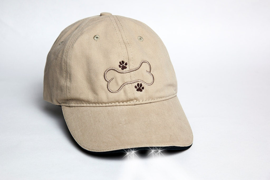 Dog Paws And Bone On A Khaki Ball Cap With Built In