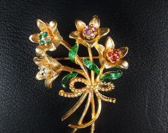 Vintage Corel Bouquet Brooch with Rhinestone Accents