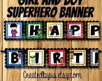 Girl and Boy Superhero Birthday Banner Super Hero party banner Hero decorations decor Superhero theme birthday name banner Comic assembled