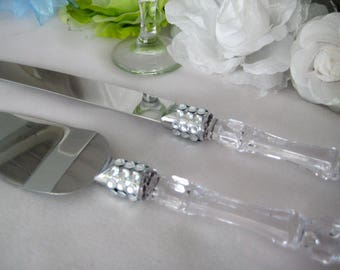 Cake Knife Serving Set with Silver Rhinestones for Wedding, Mis Quince Anos, Sweet 16, Birthday, Baptism, Banquet, Anniversary, Christening
