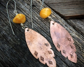 Natural Copal Amber and Rustic Boho Copper Feather Earrings - Stamped Tribal Summer Jewelry Gifts for Her