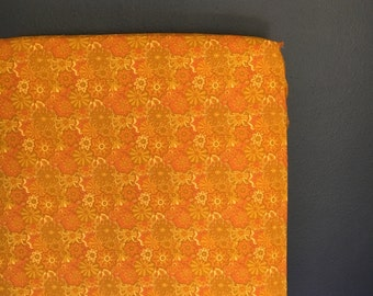 fitted crib sheet funky floral - orange and mustard Ready 2 Ship