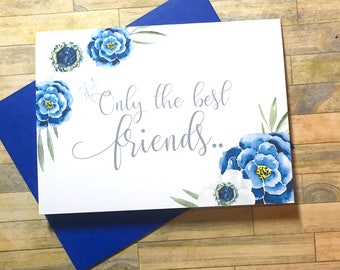 Pregnancy Announcement Card - Only the Best Friend Pregnancy Reveal Card - New Auntie - We Are Having a Baby Card - I'm Prego Card - INDIGO
