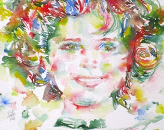 SHIRLEY TEMPLE - original watercolor portrait - one of a kind!