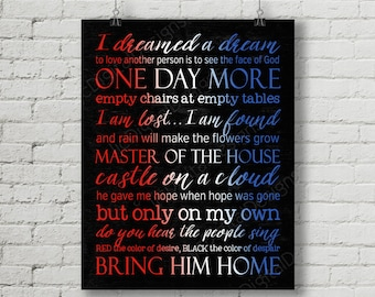 Printable Les Miserables Broadway Musical Digital Subway Art Quotes Lyrics Typography Poster Decoration 11x14 and 8x10 - INSTANT DOWNLOAD