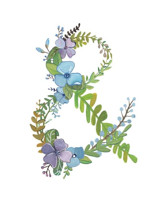Ampersand floral ampersand print for Ampersand decoration etsy