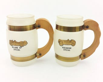 Pair of Vintage Siesta Ware Mugs Wood Handle Belond AP Special Agajanian Special Man Cave Barware, Collectible, Automobile Collectibles